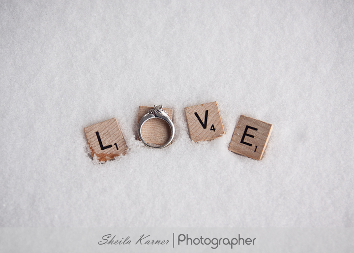 Scrabble Engagement Photo in Snow