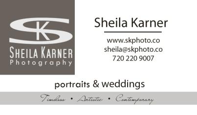 Sheila Karner Photography Business Card