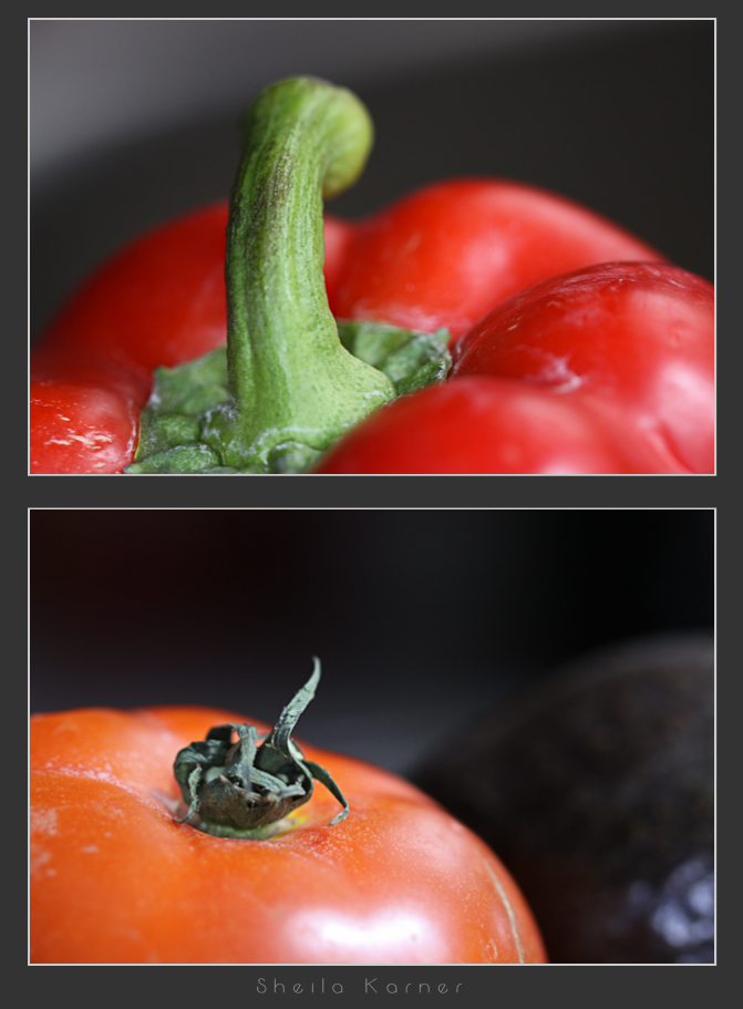Food Close Ups | Red Bell Pepper, Tomato & Avocado