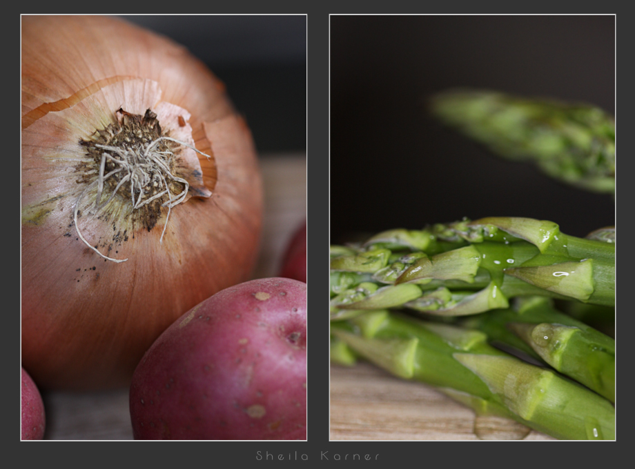 Food Close Ups | Yellow Onion, Red Potato, Asparagus