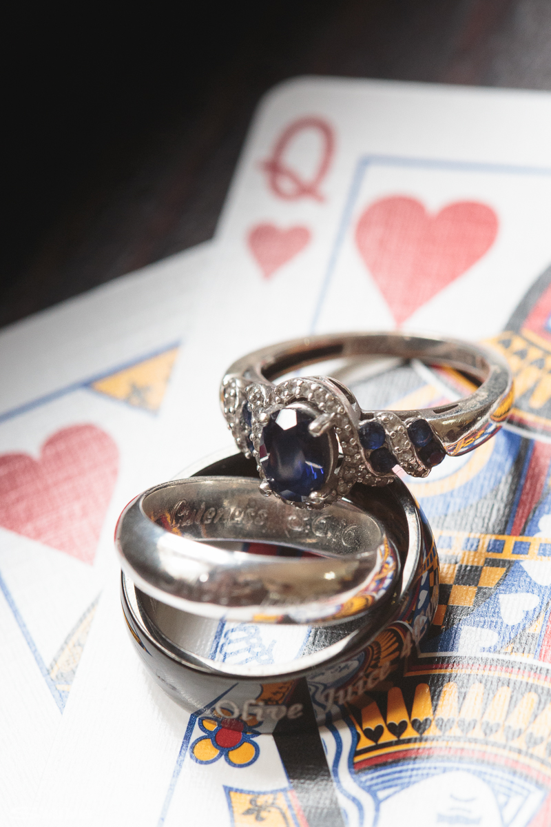 Louviers Village Clubhouse wedding. Sheila Karner Photography. King and Queen of hearts. The groom loves playing poker.