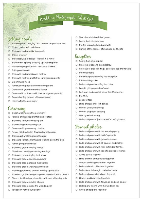 Wedding photography shot list and why it's important.